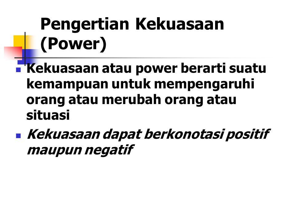 Pengertian Kekuasaan (Power) Kekuasaan atau power berarti suatu kemampuan untuk mempengaruhi orang atau merubah orang atau situasi Kekuasaan dapat berkonotasi positif maupun negatif
