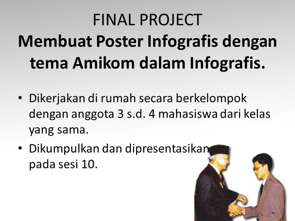 FINAL PROJECT Membuat Poster Infografis dengan tema Amikom dalam Infografis. Dikerjakan di rumah secara berkelompok dengan anggota 3 s.d. 4 mahasiswa