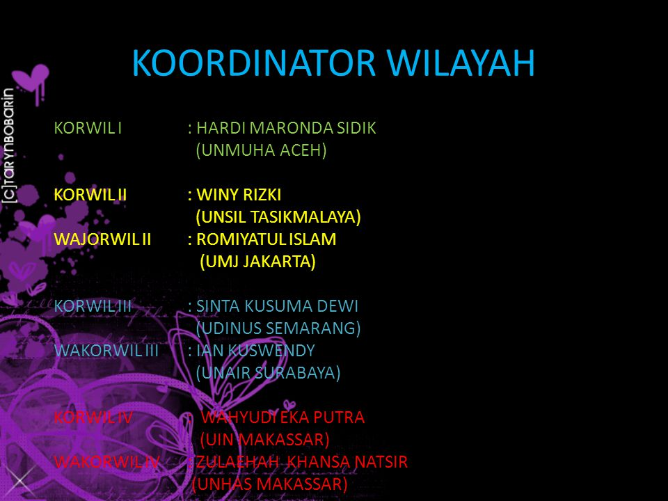 KOORDINATOR WILAYAH KORWIL I: HARDI MARONDA SIDIK (UNMUHA ACEH) KORWIL II : WINY RIZKI (UNSIL TASIKMALAYA) WAJORWIL II: ROMIYATUL ISLAM (UMJ JAKARTA) KORWIL III : SINTA KUSUMA DEWI (UDINUS SEMARANG) WAKORWIL III: IAN KUSWENDY (UNAIR SURABAYA) KORWIL IV: WAHYUDI EKA PUTRA (UIN MAKASSAR) WAKORWIL IV: ZULAEHAH KHANSA NATSIR (UNHAS MAKASSAR)