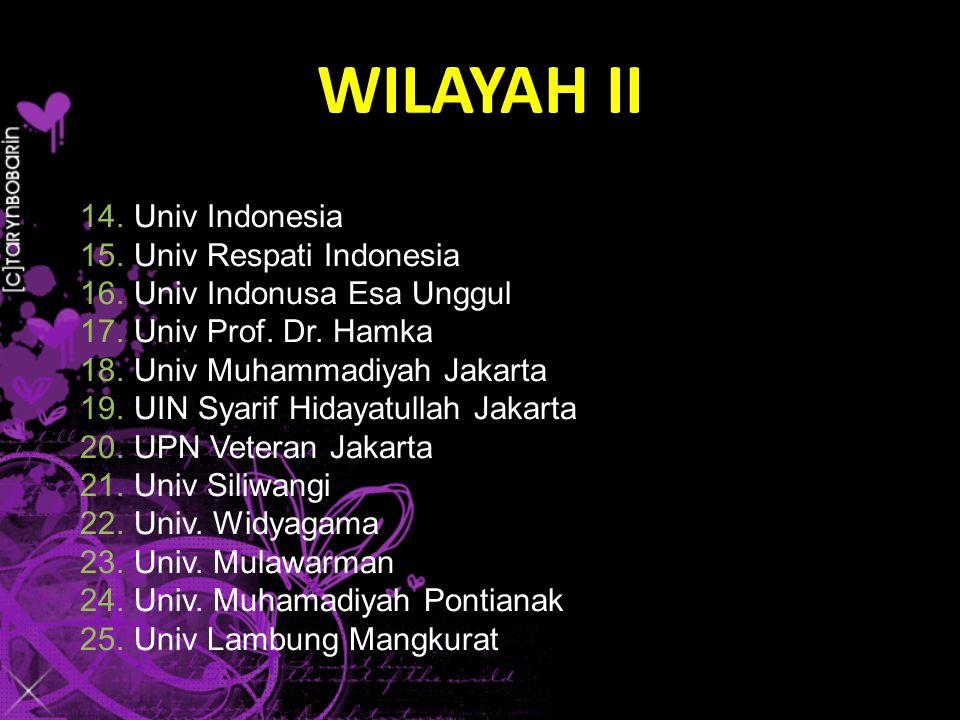 14.Univ Indonesia 15.Univ Respati Indonesia 16.Univ Indonusa Esa Unggul 17.Univ Prof.