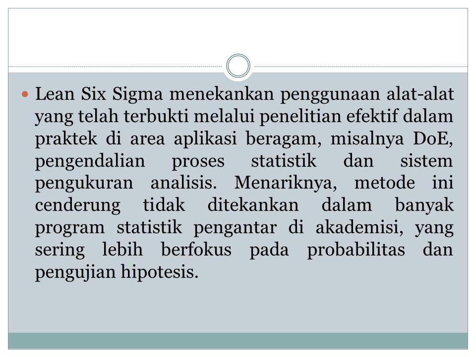 Lean Six Sigma menekankan penggunaan alat-alat yang telah terbukti melalui penelitian efektif dalam praktek di area aplikasi beragam, misalnya DoE, pe
