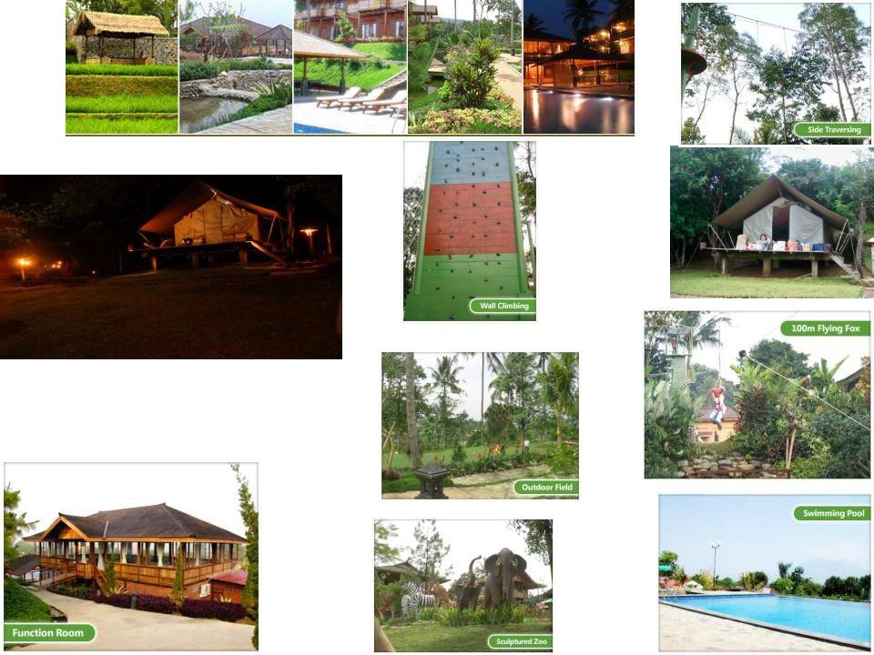 Bagedor Camp (Cisarua) Menginap 1 malam Kapasitas = 12 tenda (4 org + 2 extra bed) Paket 4 org dlm 1 tenda = Rp 178.750/ org Extra bed = Rp 110.000/ org Api Unggun = Rp 150.000/ pcs Jagung Bakar/ Rebus = Rp 4.000/ pcs Tracking pagi = Rp 15.000/ org Outbond (Paint Ball) = Rp 150.000/ org Fasilitas : swimming pool