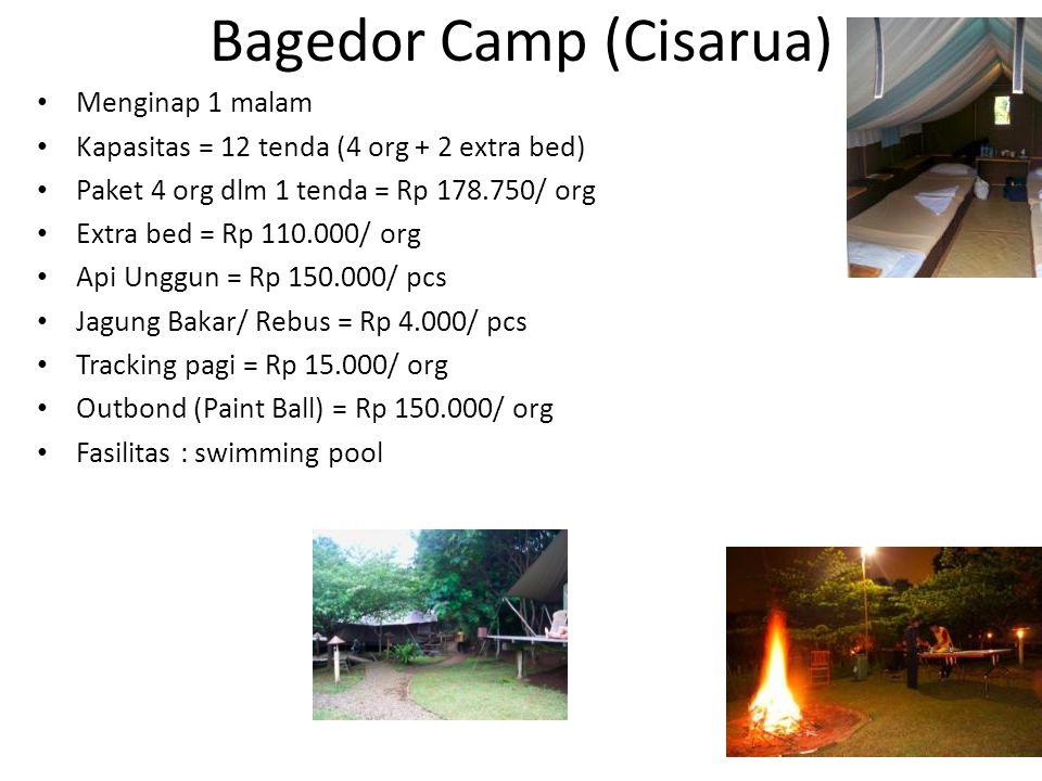 Jambuluwuk (Tapos) Menginap 1 malam Kapasitas = 15 villa (3 - 4 kamar/ villa) Paket 4 org dlm 1 kamar = Rp 285.000/ org Extra bed = Rp 100.000/ org Api Unggun = Rp 110.000/ pcs Jagung Bakar/ Rebus = Rp 5.500/ pcs Outbond (Wall Climbing) = Rp 30.000/ org Fasilitas : swimming pool, karaoke, billiard, ping poing, jogging track
