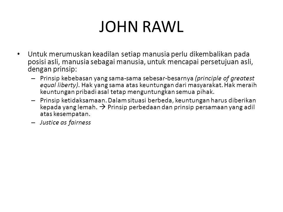 JOHN RAWL Untuk merumuskan keadilan setiap manusia perlu dikembalikan pada posisi asli, manusia sebagai manusia, untuk mencapai persetujuan asli, deng