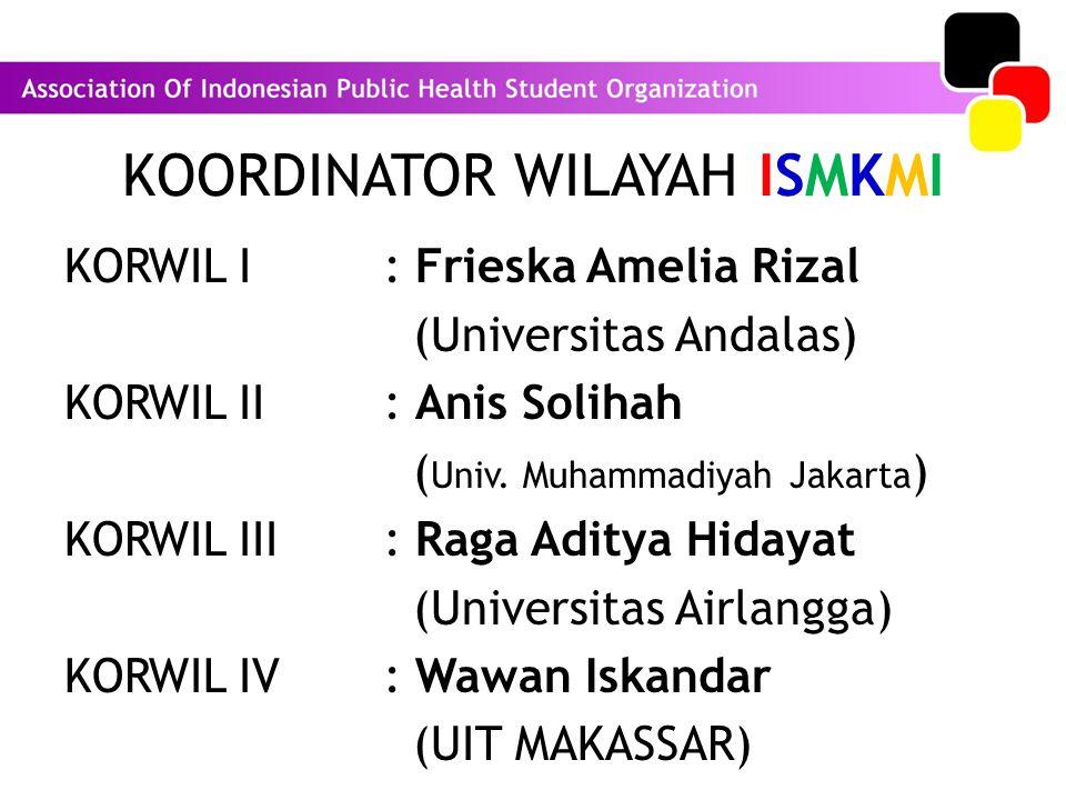 KOORDINATOR WILAYAH ISMKMI KORWIL I : Frieska Amelia Rizal (Universitas Andalas) KORWIL II : Anis Solihah ( Univ. Muhammadiyah Jakarta ) KORWIL III :