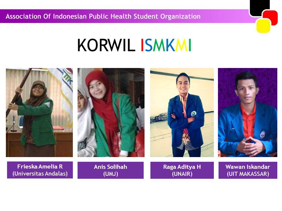 KORWIL ISMKMI Frieska Amelia R (Universitas Andalas) Anis Solihah (UMJ) Raga Aditya H (UNAIR) Wawan Iskandar (UIT MAKASSAR)