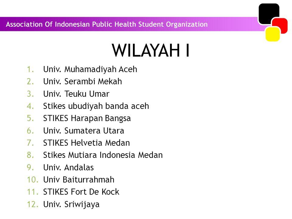 WILAYAH I 1.Univ. Muhamadiyah Aceh 2.Univ. Serambi Mekah 3.Univ. Teuku Umar 4.Stikes ubudiyah banda aceh 5.STIKES Harapan Bangsa 6.Univ. Sumatera Utar