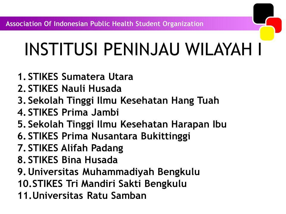 INSTITUSI PENINJAU WILAYAH I 1.STIKES Sumatera Utara 2.STIKES Nauli Husada 3.Sekolah Tinggi Ilmu Kesehatan Hang Tuah 4.STIKES Prima Jambi 5.Sekolah Tinggi Ilmu Kesehatan Harapan Ibu 6.STIKES Prima Nusantara Bukittinggi 7.STIKES Alifah Padang 8.STIKES Bina Husada 9.Universitas Muhammadiyah Bengkulu 10.STIKES Tri Mandiri Sakti Bengkulu 11.Universitas Ratu Samban