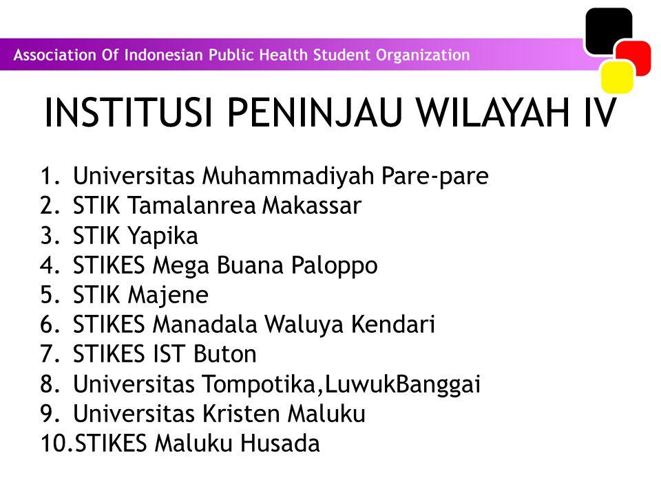 INSTITUSI PENINJAU WILAYAH IV 1.Universitas Muhammadiyah Pare-pare 2.STIK Tamalanrea Makassar 3.STIK Yapika 4.STIKES Mega Buana Paloppo 5.STIK Majene