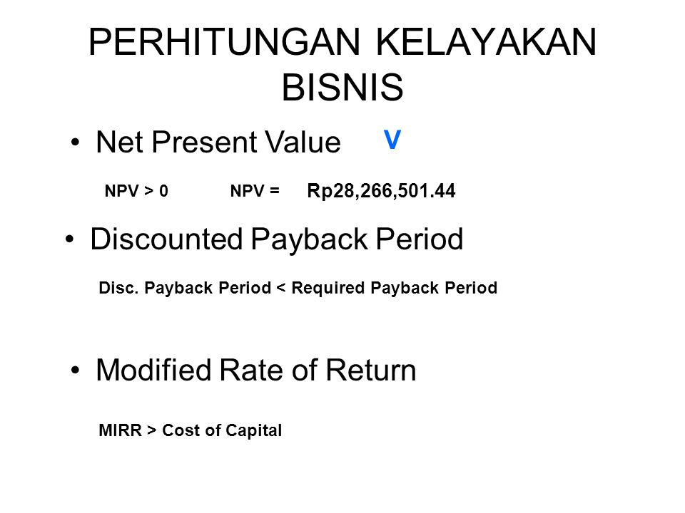 DISCOUNTED PAYBACK PERIOD TahunPV Arus Kas 0(Rp50,000,000.00) 1Rp42,360,779.43 2Rp22,618,226.69 3(Rp13,000,472.40) 4Rp9,106,638.80 5Rp17,181,328.91 TotalRp28,266,501.44 PV Arus Kas (Rp124,940,874.63) Rp42,360,779.43 Rp22,618,226.69 Rp61,940,402.23 Rp9,106,638.80 Rp17,181,328.91 Arus Kas Kumulatif (Rp124,940,874.63) (Rp82,580,095.20) (Rp59,961,868.51) Rp1,978,533.73 Rp11,085,172.52 Rp28,266,501.44 0 1 2 2,96 Tahun