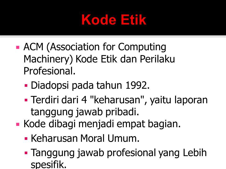  ACM (Association for Computing Machinery) Kode Etik dan Perilaku Profesional.  Diadopsi pada tahun 1992.  Terdiri dari 4