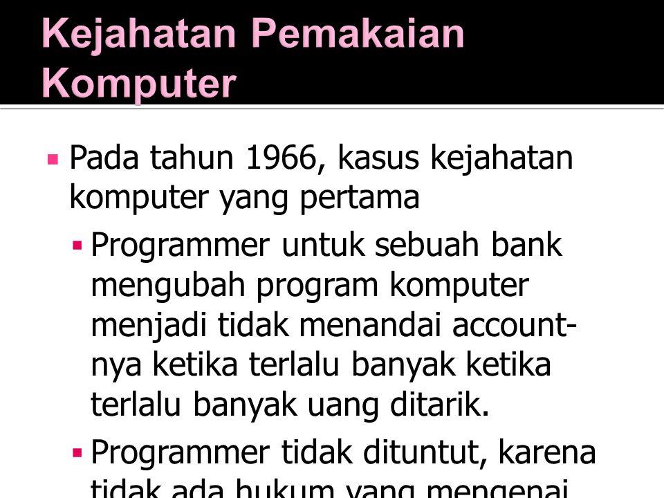  Pada tahun 1966, kasus kejahatan komputer yang pertama  Programmer untuk sebuah bank mengubah program komputer menjadi tidak menandai account- nya