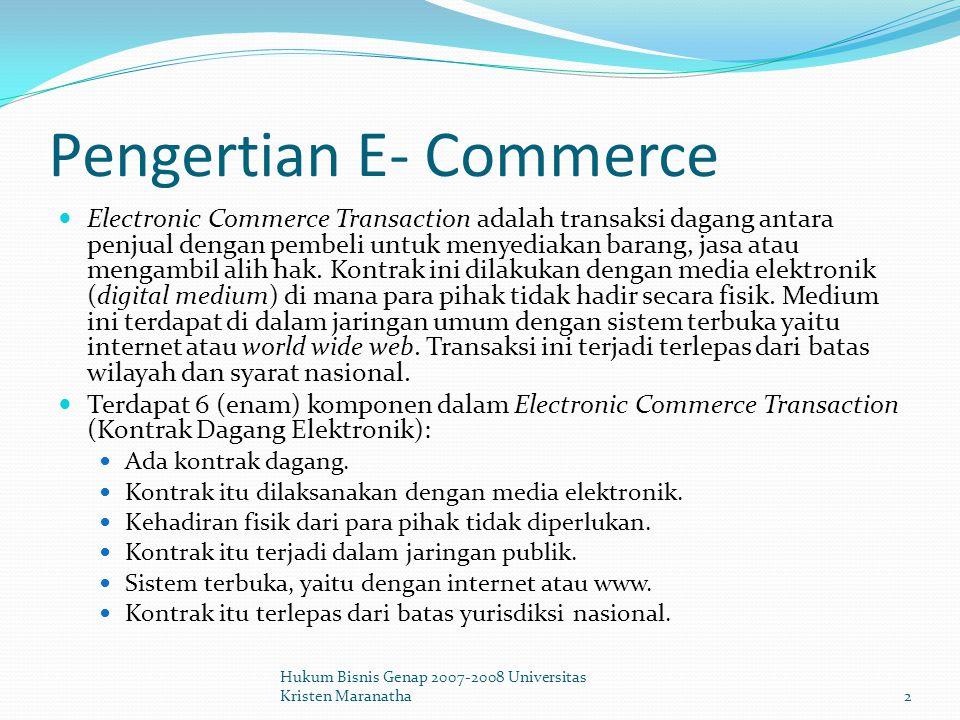 Aspek-aspek Hukum dari E- Commerce Pilihan Hukum (Choice of Law) Hubungan hukum yang terjadi dalam transaksi e-commerce, bukan saja merupakan hubungan-hubungan keperdataan nasional yang tunduk pada hukum perdata dari suatu negara tertentu (Indonesia= KUHPerdata), tetapi merupakan hubungan-hubungan keperdataan internasional yang termasuk dalam ruang lingkup Hukum Perdata Internasional.