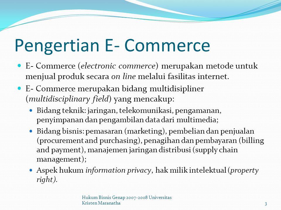 Aspek-aspek Hukum dari E- Commerce Pilihan Hukum (Choice of Law) Hukum mana yang harus diberlakukan oleh hakim (Indonesia atau USA).