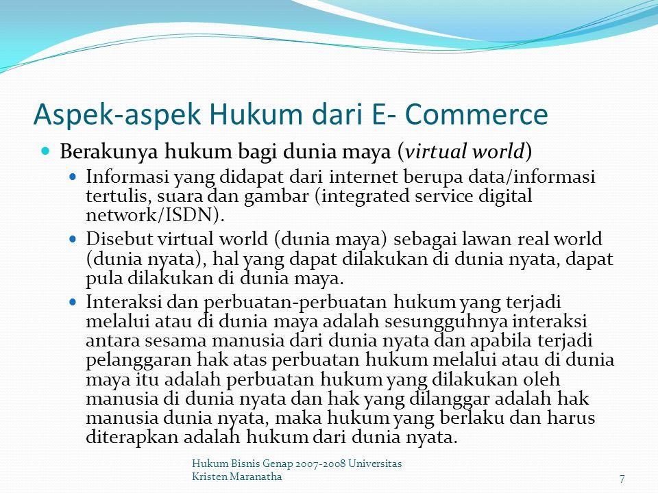 Aspek-aspek Hukum dari E- Commerce Penggunaan Domain name Penentuan alamat dalam dunia maya dikenal dengan istilah domain name.