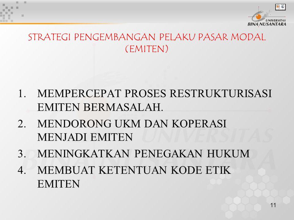11 STRATEGI PENGEMBANGAN PELAKU PASAR MODAL (EMITEN) 1.MEMPERCEPAT PROSES RESTRUKTURISASI EMITEN BERMASALAH.