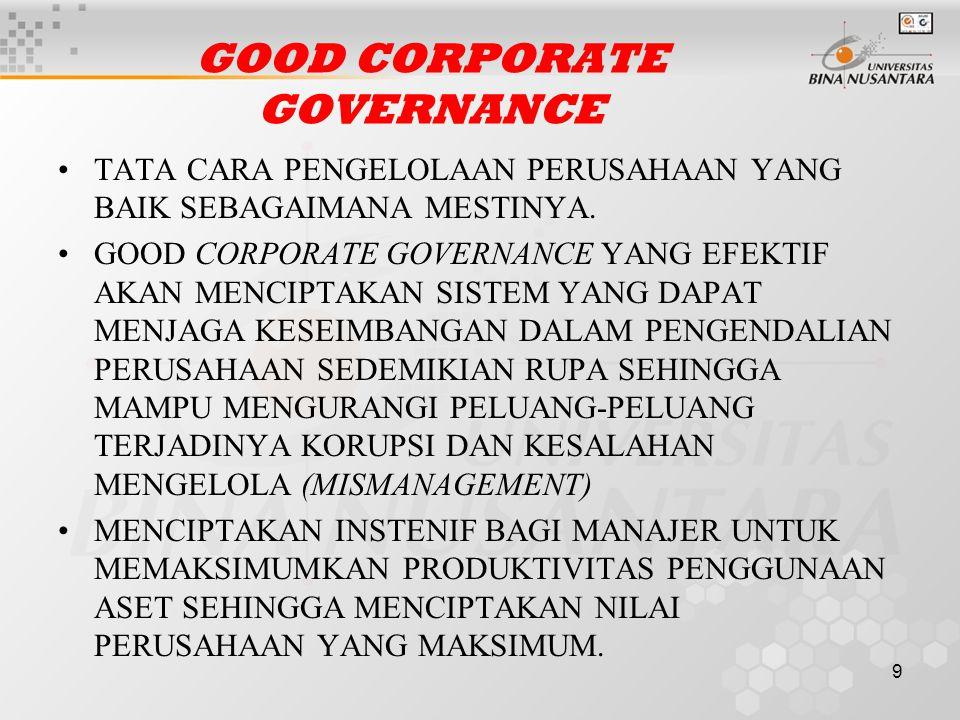 9 GOOD CORPORATE GOVERNANCE TATA CARA PENGELOLAAN PERUSAHAAN YANG BAIK SEBAGAIMANA MESTINYA.