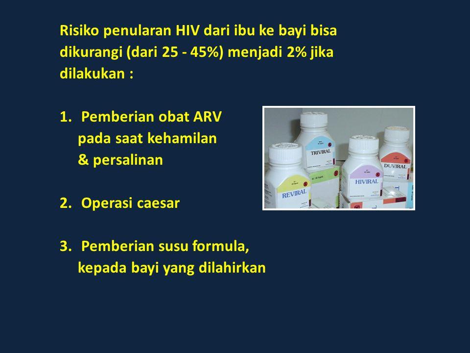Risiko penularan HIV dari ibu ke bayi bisa dikurangi (dari 25 - 45%) menjadi 2% jika dilakukan : 1.Pemberian obat ARV pada saat kehamilan & persalinan