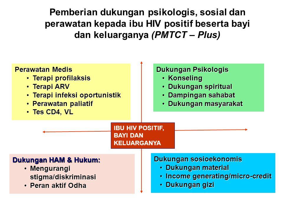 Pemberian dukungan psikologis, sosial dan perawatan kepada ibu HIV positif beserta bayi dan keluarganya (PMTCT – Plus) Dukungan sosioekonomis Dukungan
