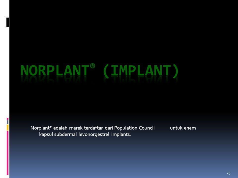 25 Norplant ® adalah merek terdaftar dari Population Council untuk enam kapsul subdermal levonorgestrel implants.