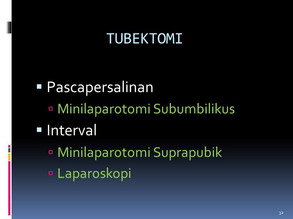TUBEKTOMI  Pascapersalinan  Minilaparotomi Subumbilikus  Interval  Minilaparotomi Suprapubik  Laparoskopi 32