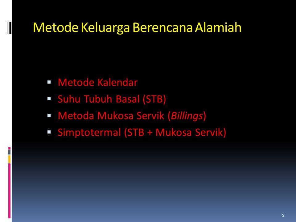 Metode Keluarga Berencana Alamiah  Metode Kalendar  Suhu Tubuh Basal (STB)  Metoda Mukosa Servik (Billings)  Simptotermal (STB + Mukosa Servik) 5