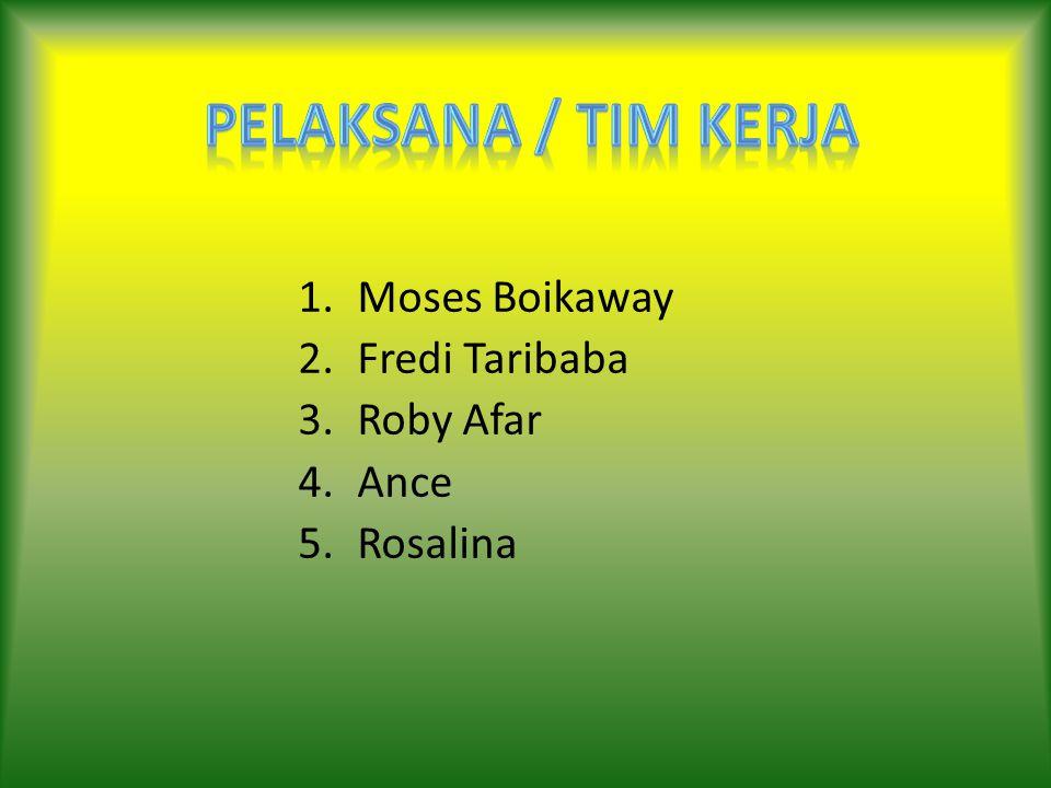1.Moses Boikaway 2.Fredi Taribaba 3.Roby Afar 4.Ance 5.Rosalina