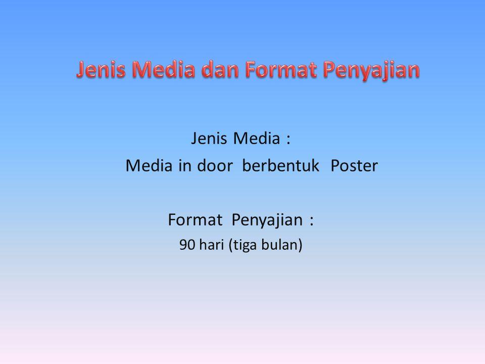 Jenis Media : Media in door berbentuk Poster Format Penyajian : 90 hari (tiga bulan)