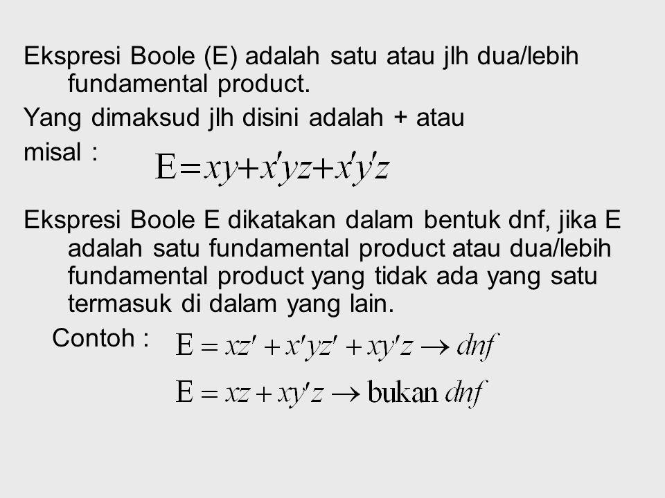 Full DNF Full Dnf adalah suatu ekspresi boolean E(X1,X2,…) jika ekspresi tersebut merupakan suatu dnf yang terdiri atas semua variabelnya. Contoh : E