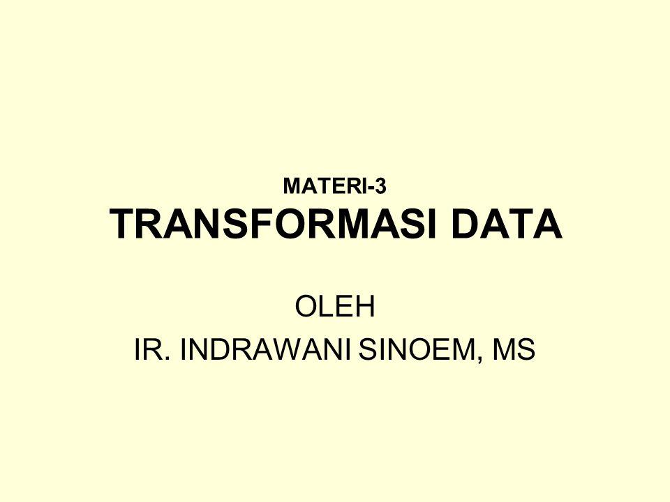 MATERI-3 TRANSFORMASI DATA OLEH IR. INDRAWANI SINOEM, MS