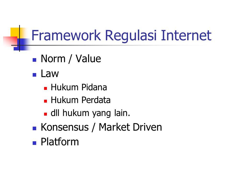 Framework Regulasi Internet Norm / Value Nilai, Budaya, Agama.
