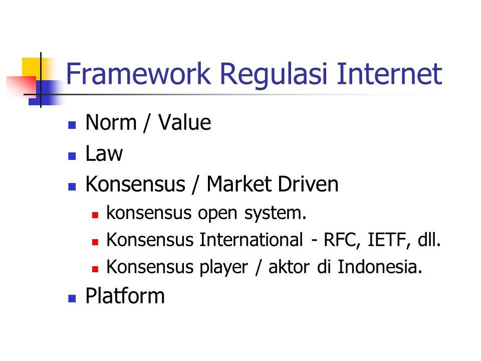 Framework Regulasi Internet Norm / Value Law Hukum Pidana Hukum Perdata dll hukum yang lain.