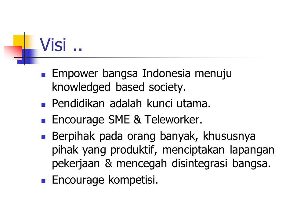 Visi..Empower bangsa Indonesia menuju knowledged based society.