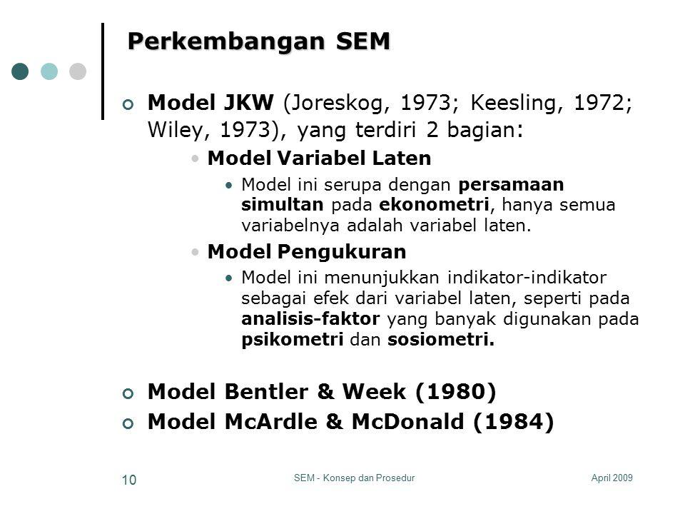 April 2009SEM - Konsep dan Prosedur 10 Perkembangan SEM Model JKW (Joreskog, 1973; Keesling, 1972; Wiley, 1973), yang terdiri 2 bagian : Model Variabe