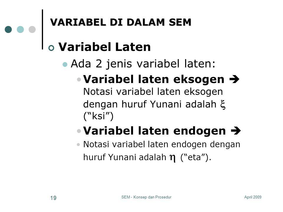 April 2009SEM - Konsep dan Prosedur 19 VARIABEL DI DALAM SEM Variabel Laten Ada 2 jenis variabel laten: Variabel laten eksogen  Notasi variabel laten