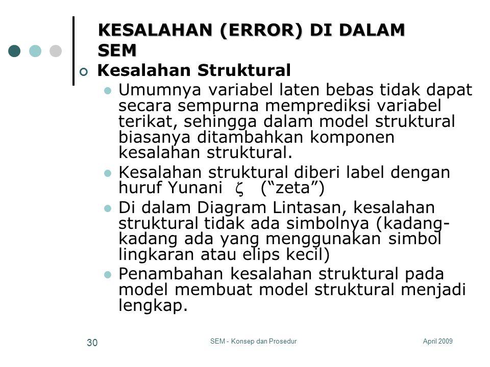 April 2009SEM - Konsep dan Prosedur 30 KESALAHAN (ERROR) DI DALAM SEM Kesalahan Struktural Umumnya variabel laten bebas tidak dapat secara sempurna me