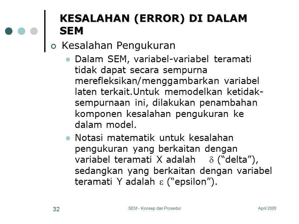 April 2009SEM - Konsep dan Prosedur 32 KESALAHAN (ERROR) DI DALAM SEM Kesalahan Pengukuran Dalam SEM, variabel-variabel teramati tidak dapat secara se