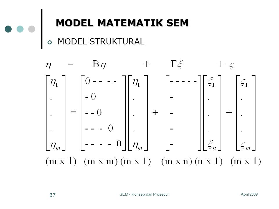 April 2009SEM - Konsep dan Prosedur 37 MODEL MATEMATIK SEM MODEL STRUKTURAL
