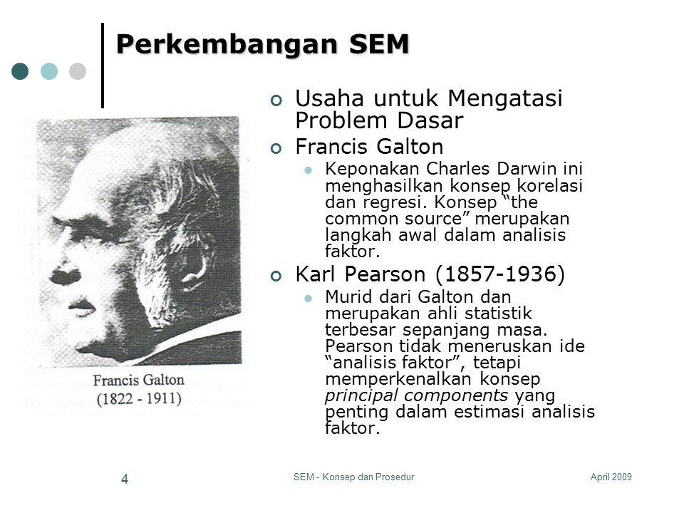 April 2009SEM - Konsep dan Prosedur 4 Perkembangan SEM Usaha untuk Mengatasi Problem Dasar Francis Galton Keponakan Charles Darwin ini menghasilkan ko