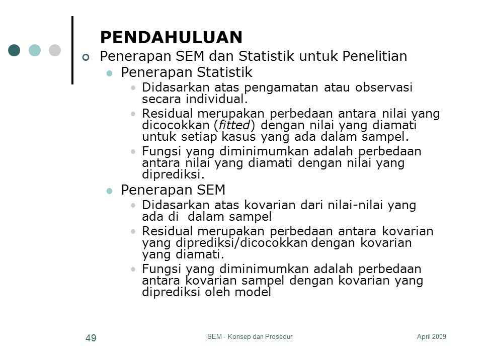 April 2009SEM - Konsep dan Prosedur 49 PENDAHULUAN Penerapan SEM dan Statistik untuk Penelitian Penerapan Statistik Didasarkan atas pengamatan atau ob