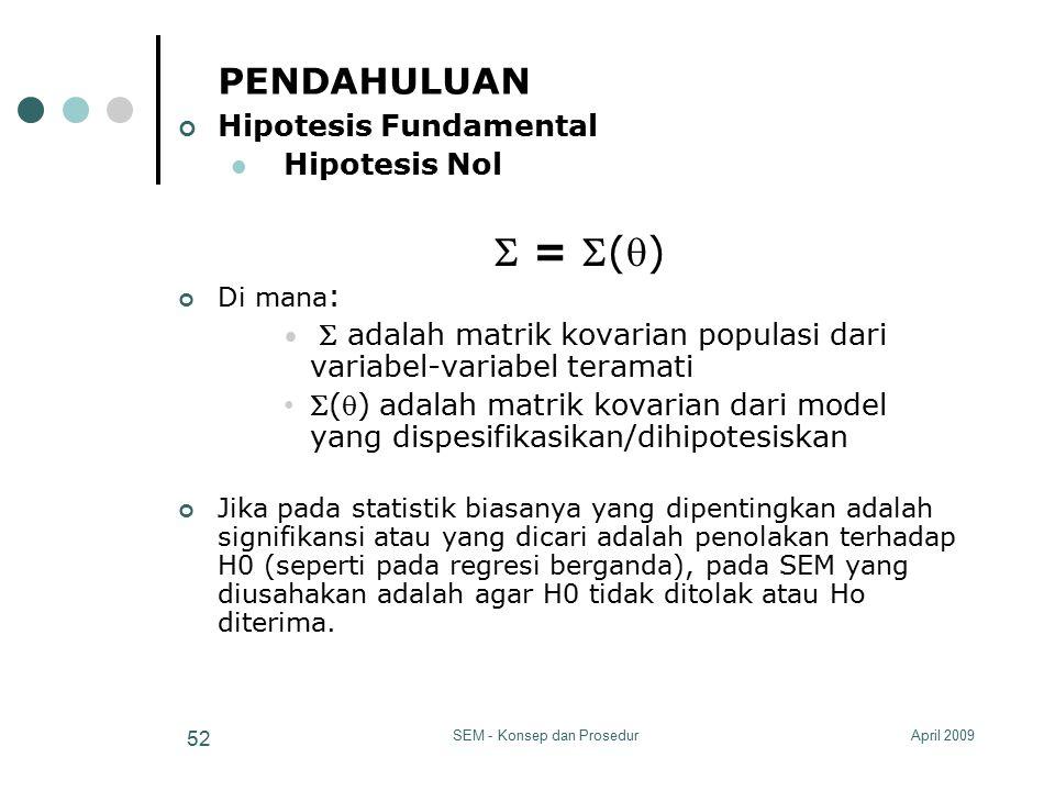 April 2009SEM - Konsep dan Prosedur 52 PENDAHULUAN Hipotesis Fundamental Hipotesis Nol  = () Di mana :  adalah matrik kovarian populasi dari varia