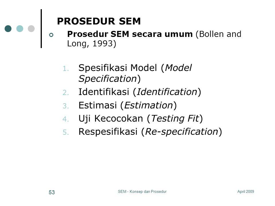 April 2009SEM - Konsep dan Prosedur 53 PROSEDUR SEM Prosedur SEM secara umum (Bollen and Long, 1993) 1. Spesifikasi Model (Model Specification) 2. Ide