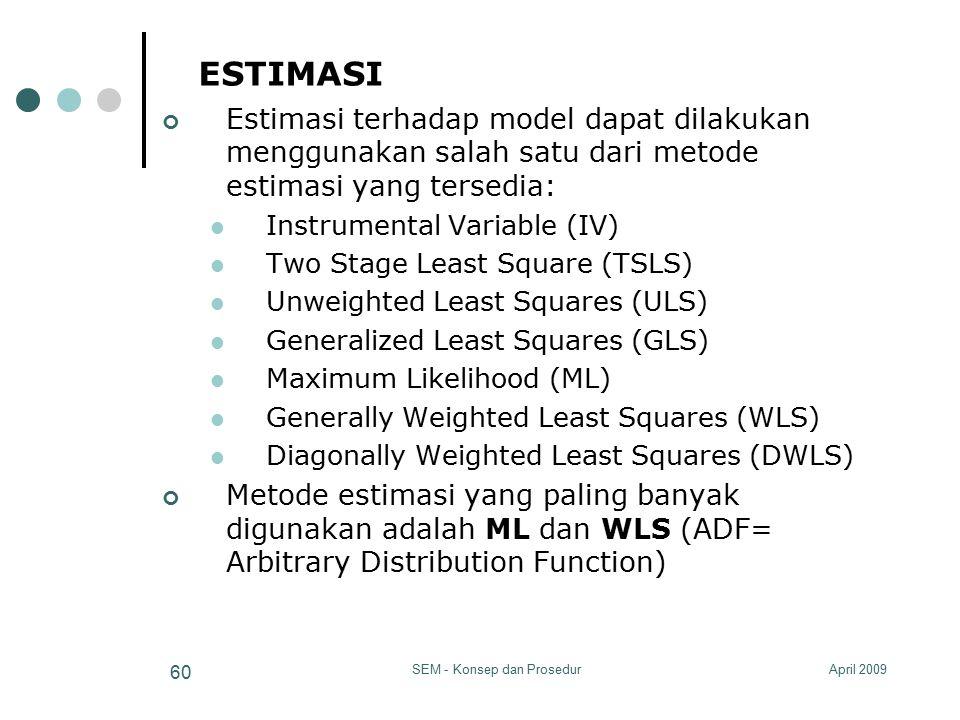 April 2009SEM - Konsep dan Prosedur 60 ESTIMASI Estimasi terhadap model dapat dilakukan menggunakan salah satu dari metode estimasi yang tersedia: Ins