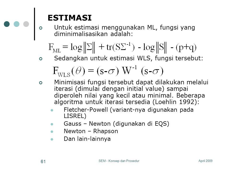 April 2009SEM - Konsep dan Prosedur 61 ESTIMASI Untuk estimasi menggunakan ML, fungsi yang diminimalisasikan adalah: Sedangkan untuk estimasi WLS, fun