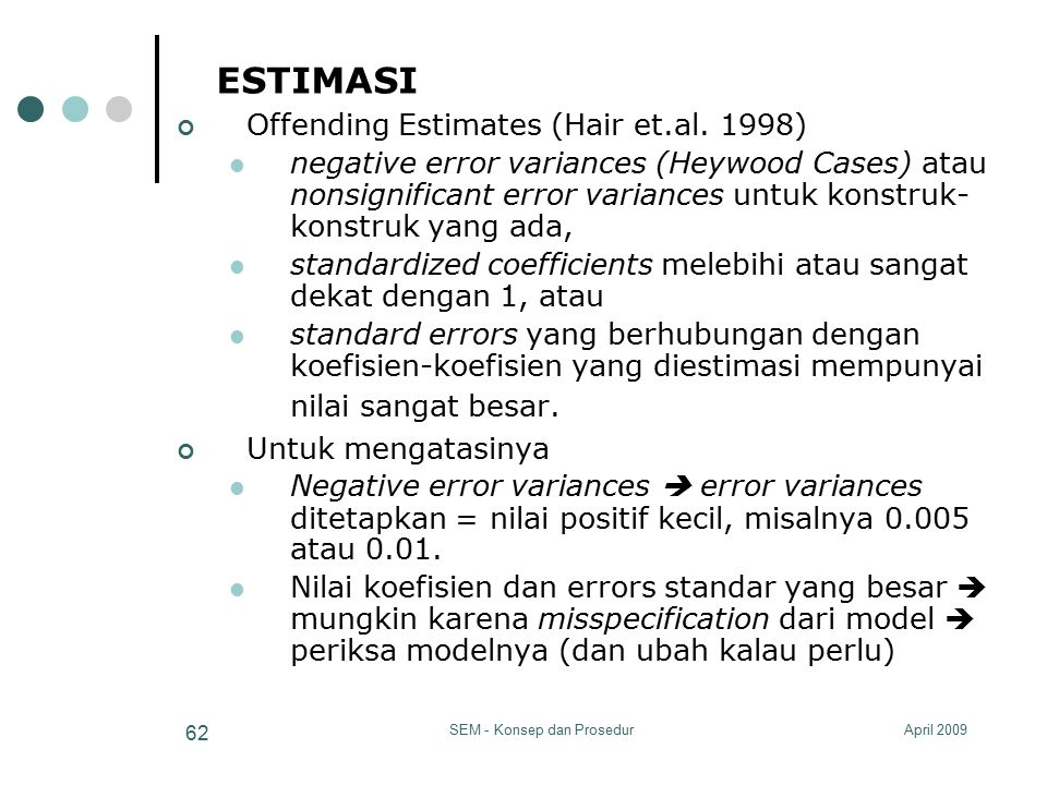 April 2009SEM - Konsep dan Prosedur 62 ESTIMASI Offending Estimates (Hair et.al.