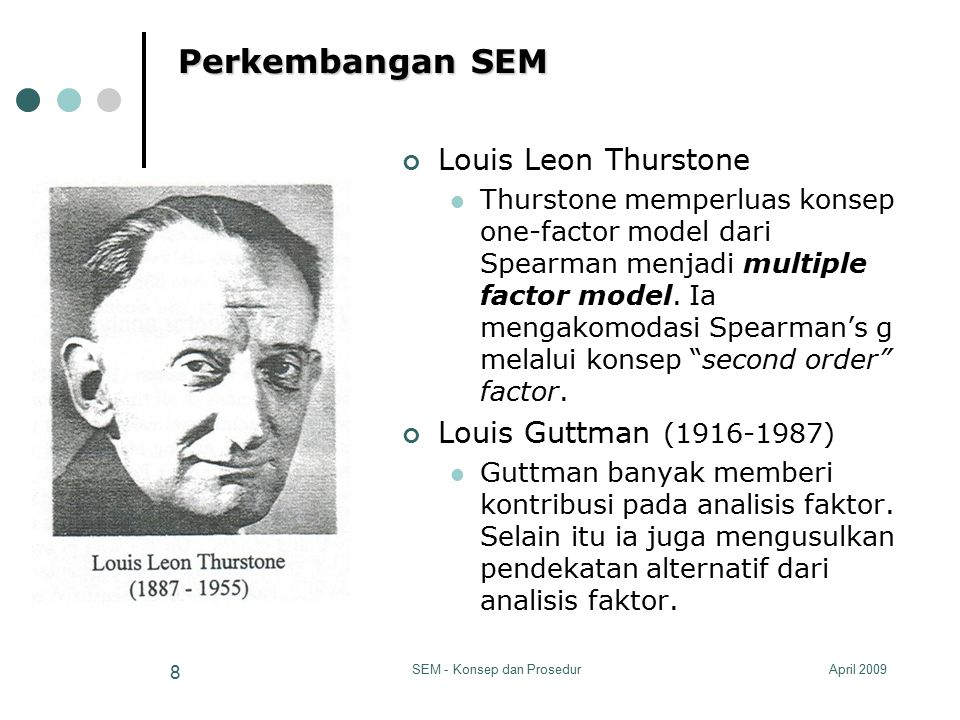 April 2009SEM - Konsep dan Prosedur 8 Perkembangan SEM Louis Leon Thurstone Thurstone memperluas konsep one-factor model dari Spearman menjadi multipl