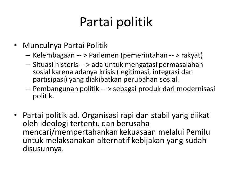 Partai politik Munculnya Partai Politik – Kelembagaan -- > Parlemen (pemerintahan -- > rakyat) – Situasi historis -- > ada untuk mengatasi permasalahan sosial karena adanya krisis (legitimasi, integrasi dan partisipasi) yang diakibatkan perubahan sosial.