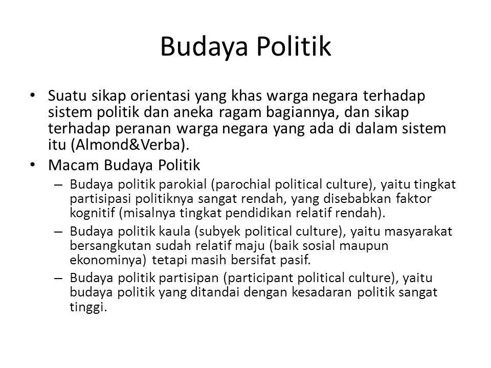 Budaya Politik Suatu sikap orientasi yang khas warga negara terhadap sistem politik dan aneka ragam bagiannya, dan sikap terhadap peranan warga negara yang ada di dalam sistem itu (Almond&Verba).