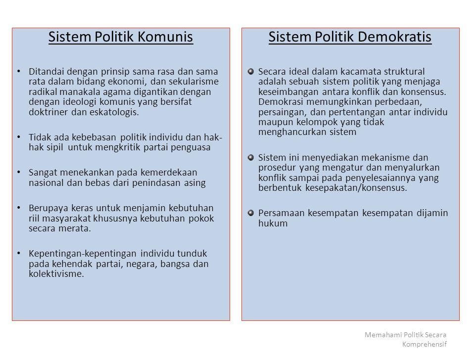 SISTEM POLITIK DEMOKRASI Secara ideal adalah sistem politik yang memelihara keseimbangan antara konflik dan konsensus.