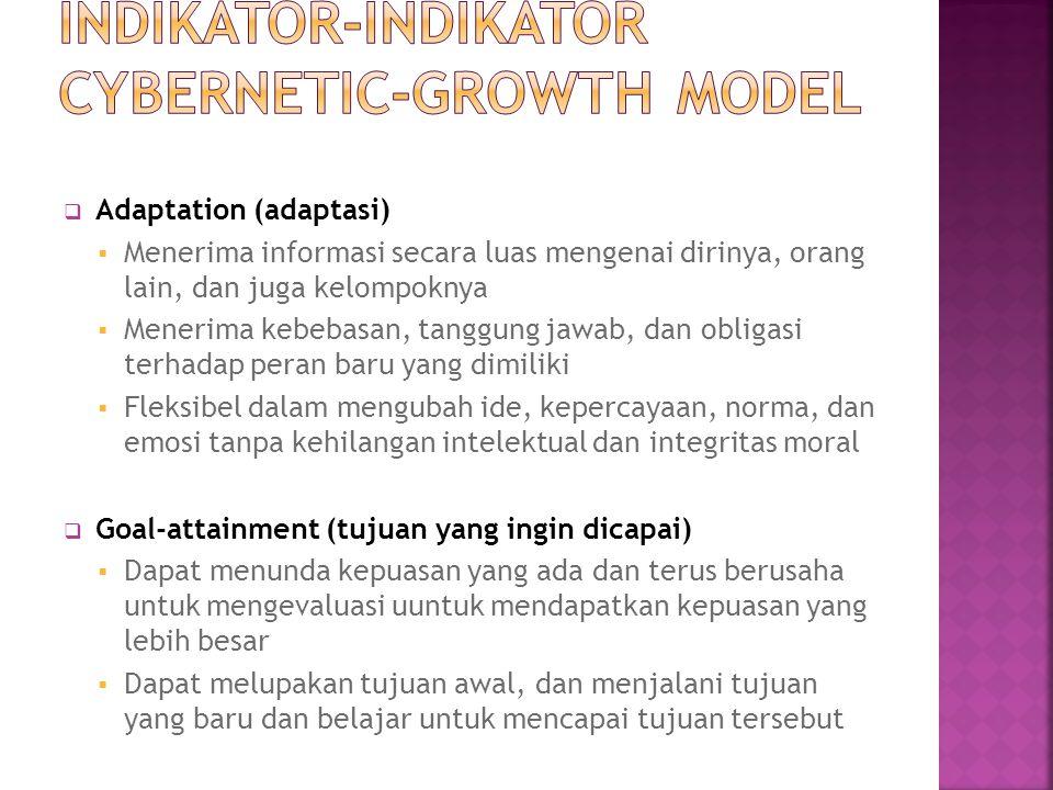  Adaptation (adaptasi)  Menerima informasi secara luas mengenai dirinya, orang lain, dan juga kelompoknya  Menerima kebebasan, tanggung jawab, dan